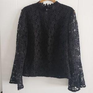 Bebe Black Lace Look Top